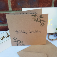 PERSONALISED rustic wedding olive branch leaf invitation invite 6x6in brown card