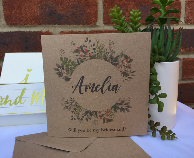 PERSONALISED rustic wedding wild floral wreath Bridesmaid Flower Girl 6x6in card