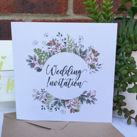PERSONALISED wedding invitation wild flower floral wreath leaf foliage 6in card