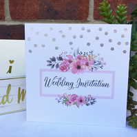 PERSONALISED wedding floral invitation flowers invite silver polka dots confetti