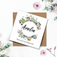 PERSONALISED wedding wild floral wreath Bridesmaid Flower Girl 6x 6in white card