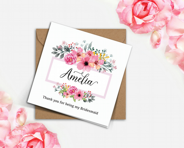 PERSONALISED rustic wedding pink FLORAL frame Bridesmaid invitation card