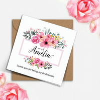 PERSONALISED rustic wedding pink FLORAL frame Bridesmaid Flower Girl 6x6in card