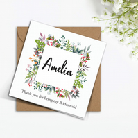 PERSONALISED wild flowers greenery frame Bridesmaid wedding invitation card