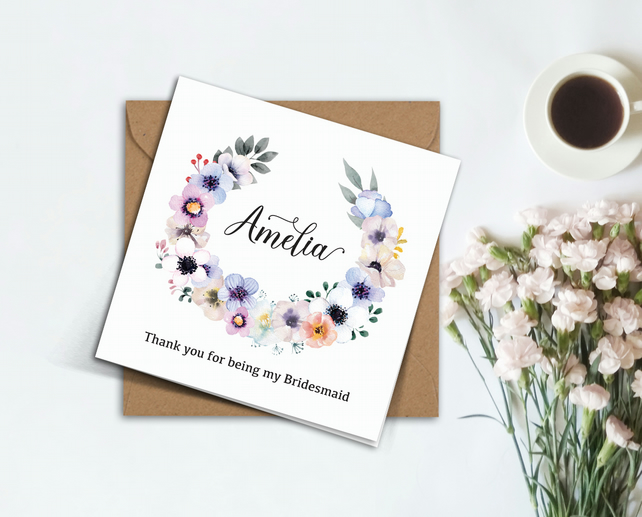 PERSONALISED white flowers wreath Bridesmaid Flower Girl wedding invitation card