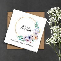 PERSONALISED gold ring, pink flowers white Bridesmaid wedding invitation card