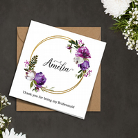 PERSONALISED purple peonies ring Bridesmaid Flower Girl wedding invitation card