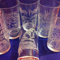 Hand Engraved Set of 6 Hi-ball Tumbler Glasses, Harry Potter Inspired