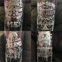 Hand Engraved Set of 4 Pint Glasses, The Greatest Showman Inspired Song Lyrics