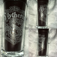 Hand Engraved Hi-ball Tumbler Glass, Harry Potter Inspired Slytherin