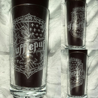 Hand Engraved Hi-ball Tumbler Glass, Harry Potter Inspired Hufflepuff