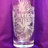 Hand Engraved Hi-ball Tumbler Glass, Harry Potter Inspired Ravenclaw