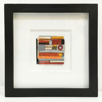 TINY CARGO small abstract art, rust orange, red, grey, black, patchwork, boro