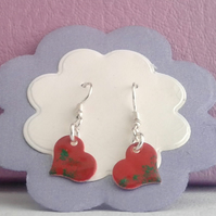 emamelled red and green heart shaped earrings