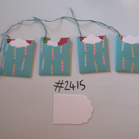 Set of 4 No.2415 Teal with Candles Unique Handmade Gift Tags