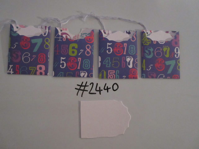 Set of 4 No.2440 Dark Blue with Numbers Unique Handmade Gift Tags