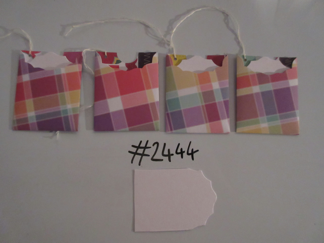 Set of 4 No.2444 Coloured Check Unique Handmade Gift Tags