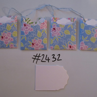 Set of 4 No.2432 Blue with Flowers and Lady Birds Unique Handmade Gift Tags