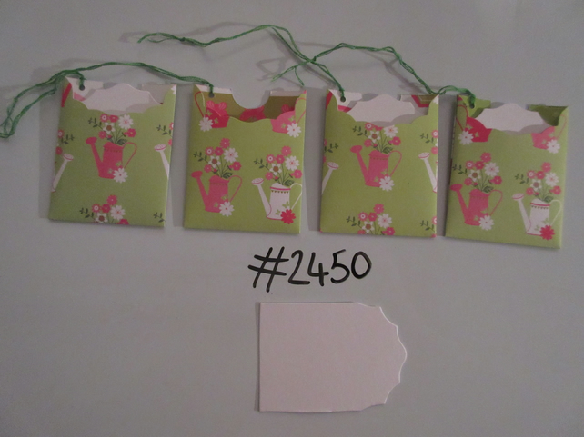 Set of 4 No.2450 Green with Flowers and Watering Cans Unique Handmade Gift Tags