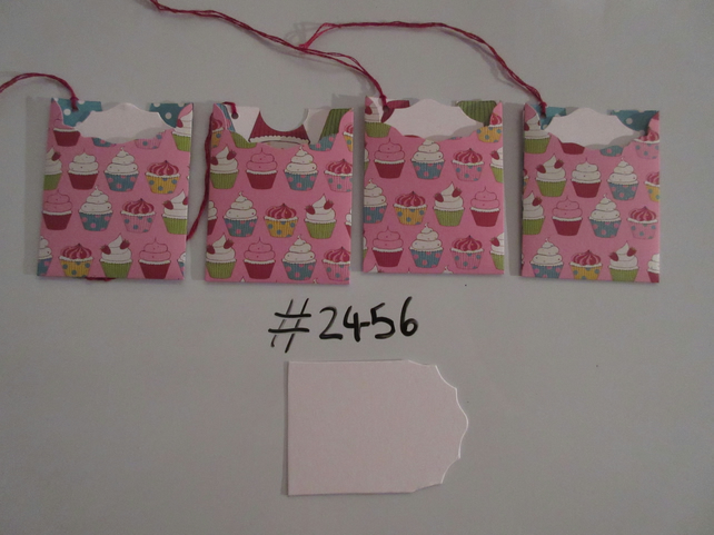 Set of 4 No.2456 Pink with Cupcakes Unique Handmade Gift Tags