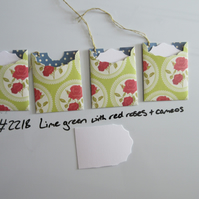 Set of 4 No.2218 Lime Green with Red Roses in Cameos Handmade Gift Tags