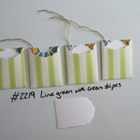 Set of 4 No.2219 Lime Green with Cream Stripes Handmade Gift Tags