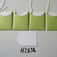 Set of 4 No.2838 Lime Green with Spots Unique Handmade Gift Tags