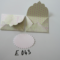 Set of 2 E043 Lime and Lilac Leaf pattern Unique Handmade Envelope Gift Tags