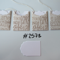 Set of 4 No.2578 Cream with Coffee Words Unique Handmade Gift Tags