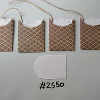 Set of 4 No.2550 Taupe Quilted Look Design Unique Handmade Gift Tags