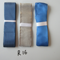 R16 - Lot of 3 Ribbons, Silver Colour & Blues