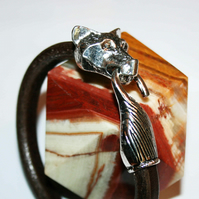 Wolf or Fox Personalised Leather Bracelet, Silver Head and interlocking Tail  BL
