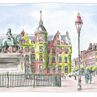 Am Marktplatz, Düsseldorf - Limited Edition Art Print