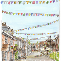'The Bunting Fairy'.  Bridge Street, Overton - Limited Edition Art Print