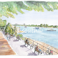 Boats, Bikes and Benches, River Rhein, Germany - Limited Edition Art Print