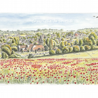 North Field Poppies, Overton, Hampshire - Limited Edition Art Print