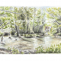 Fun at Flashetts- River Test at Flashetts, Overton, Hants- Limited Edition Print