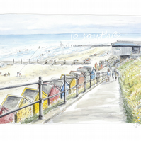 Beach Huts and Breakfast, Mundesley, Norfolk - Limited Edition Art Print