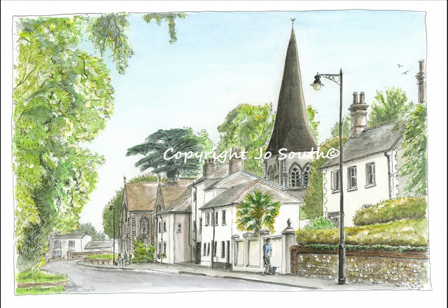 All Hallows on Church Street, Whitchurch,  Hampshire - Limited Edition Art Print