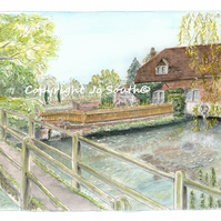 Trout Spotting, The Fulling Mill, Whitchurch,  Hampshire - Limited Edition Print