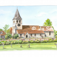 Hallowed Be They Game at St Mary's Church, Overton -  Limited Edition Art Print