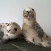 Needle Felted Common Seals