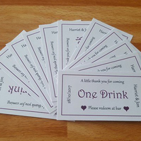 Personalised one drink Voucher x 20