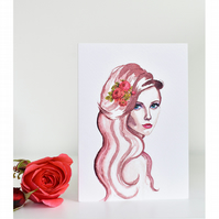 Watercolour Greetings Card Blank - Sultry Lady