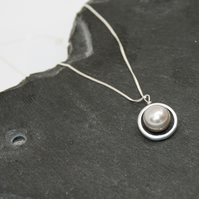 Freshwater Pearl Halo Sterling Silver Necklace