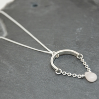 Light Pink Aventurine Curved Bar Solid Silver Necklace