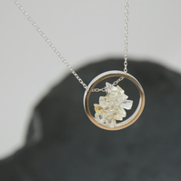 Citrine Halo Sterling Silver Necklace
