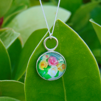 Flower Glass Cabochon Sterling Silver Pendant