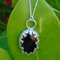 Black Onyx Solid Silver Pendant