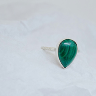 Malachite Gemstone Twisted Weave Solid Silver Ring